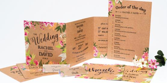 kraft folded wedding invite