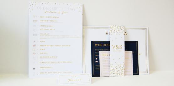 gold foil block wedding