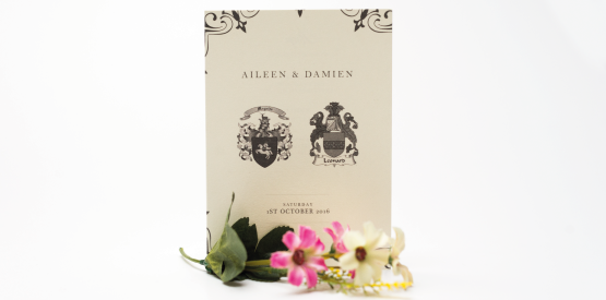 coat of arms wedding invite