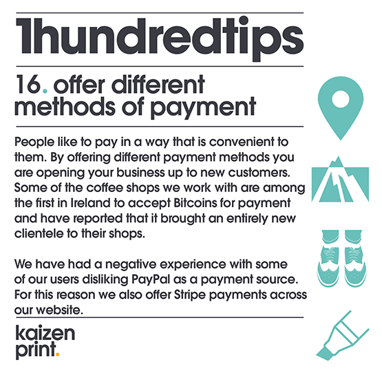 offer different  methods of payment