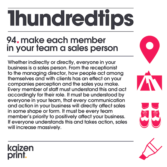make each member in your team a sales person