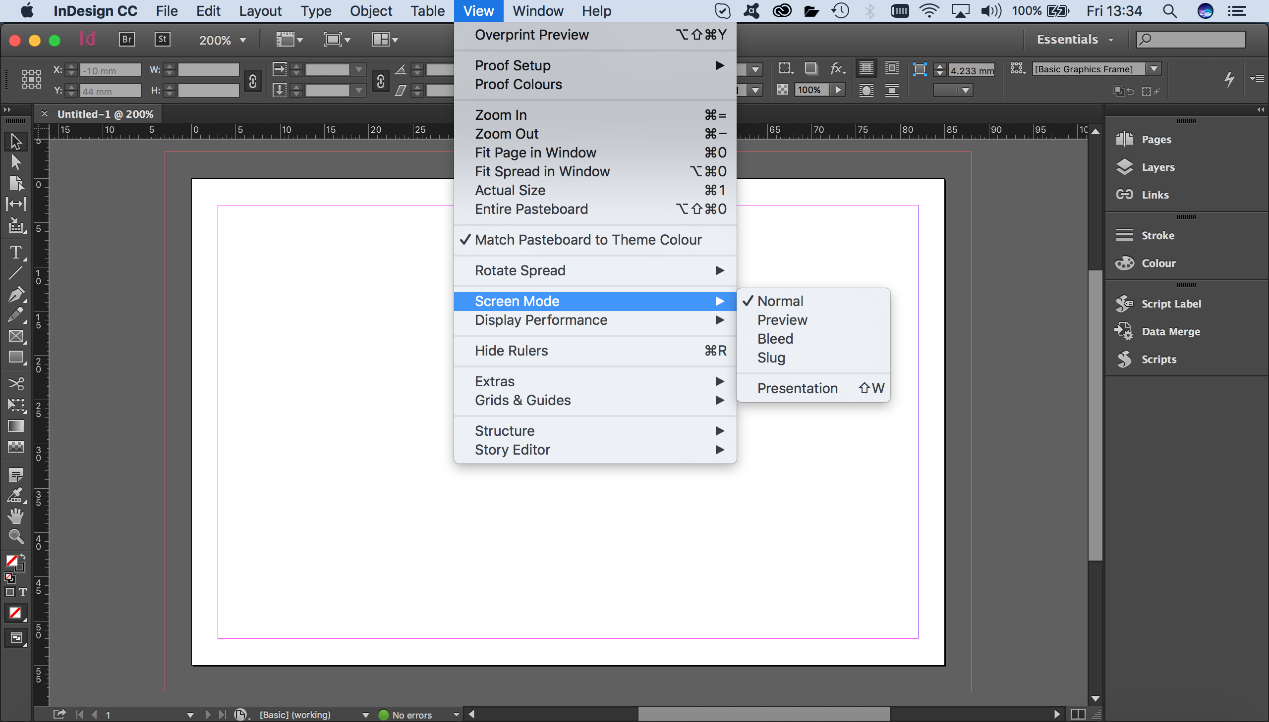 how to export indesign to pdf without margin