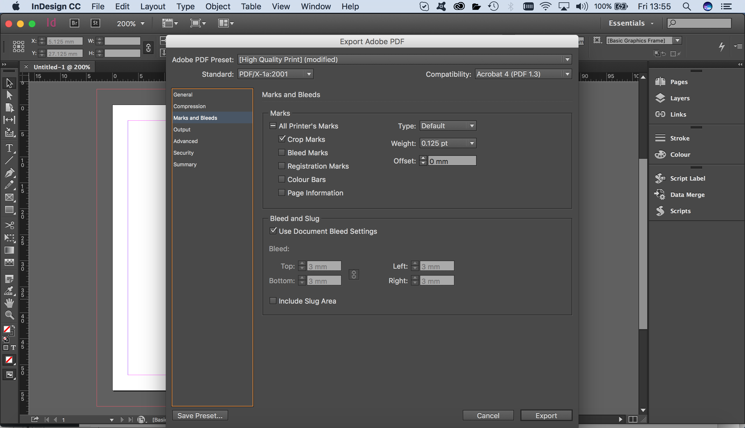 indesign export pdf with bleed