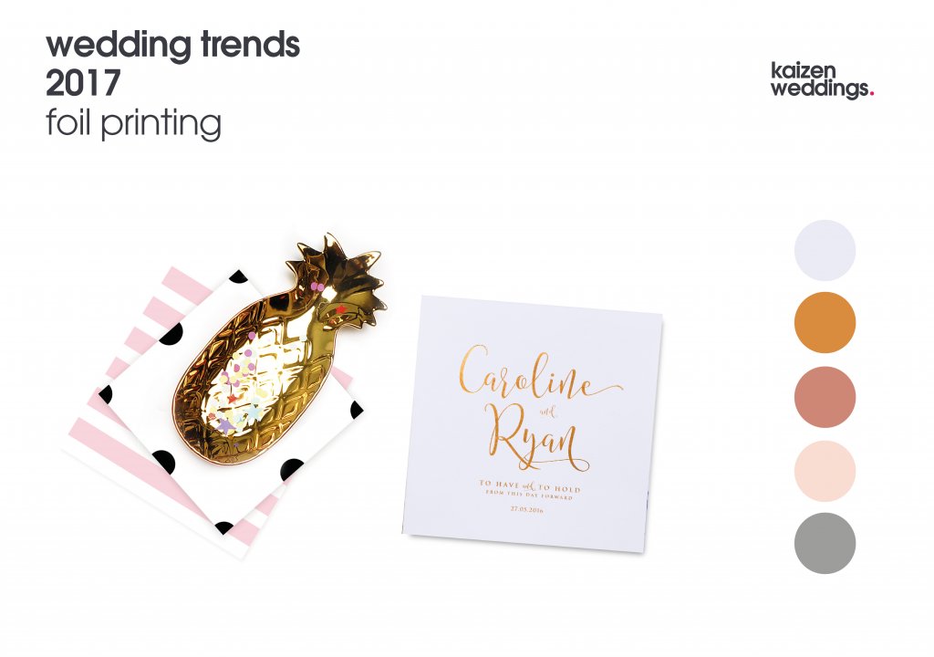 Foil printed wedding invites