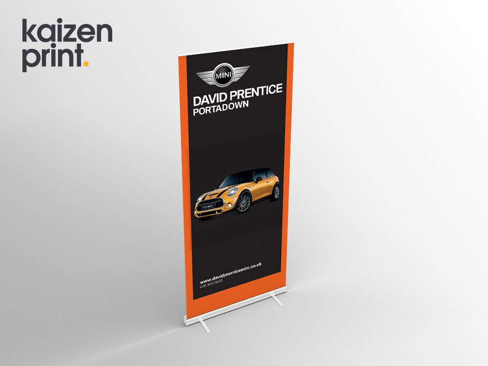 Mini Car Dealership - Roll Up Banner Printing - Belfast Printing - Kaizen Print