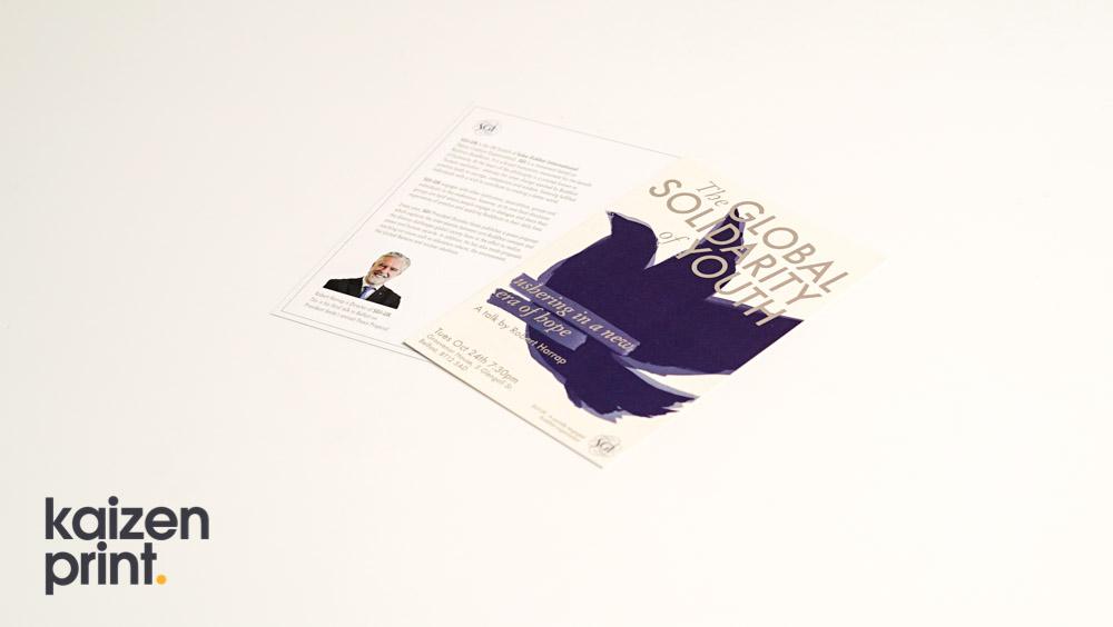 Flyer Printing & Design - Global Solidarity of Youth - A4 Flyer Printing - Belfast Printing - Kaizen Print