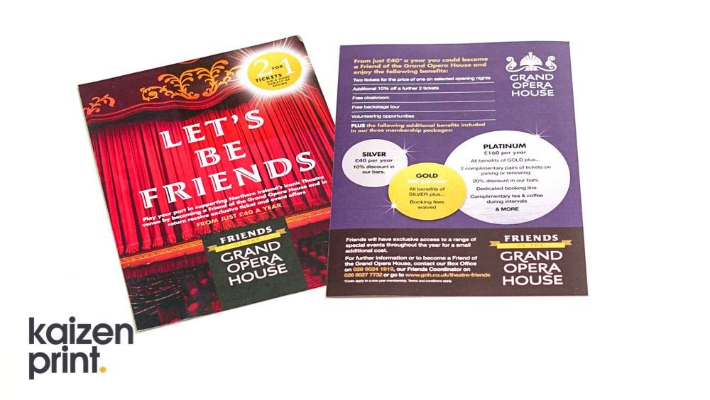 Flyer Printing & Design - Grand Opera House - A4 Flyer Printing - Belfast Printing - Kaizen Print