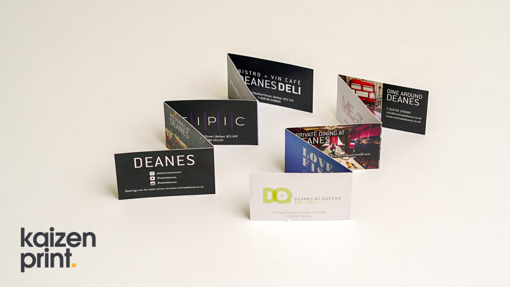 Business card printing kaizen print inspire support business cards printing design folded business cards bespoke business cards deanes deli reheart Images