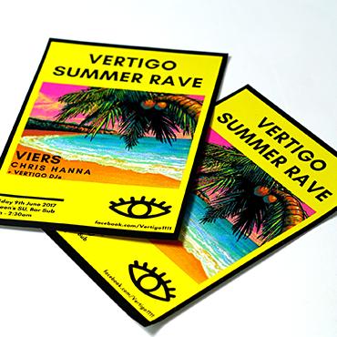 Vertigo Summer Rave- A5 Flyer - Leaflet and Flyer Printing - Belfast Printing - Kaizen Print