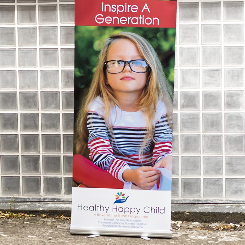 Healthy Happy Child Roll Up Banner - Roll Up Banner Printing - Belfast Printing - Kaizen Print