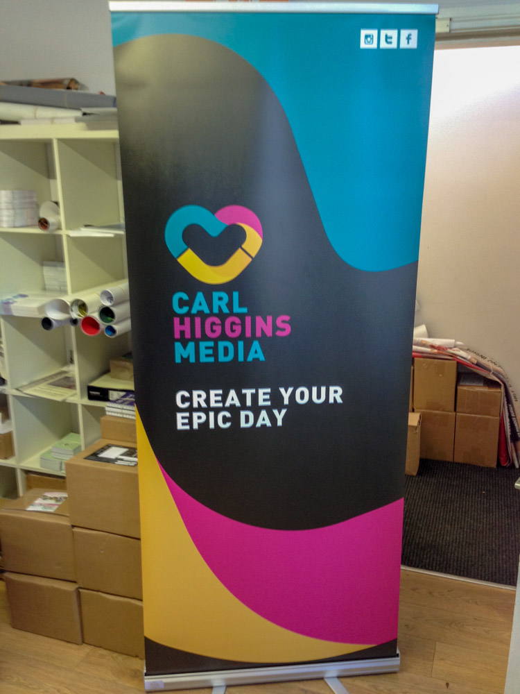Carl Higgins Media Roll Up Banner - Roll Up Banner Printing - Belfast Printing - Kaizen Print