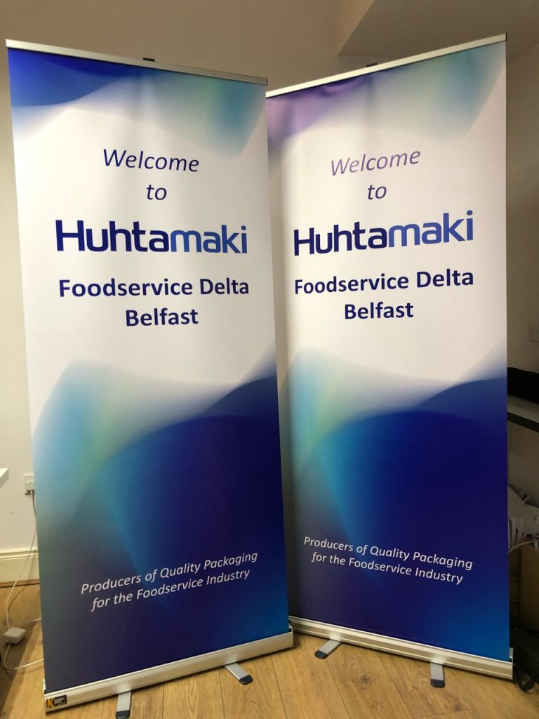 Huhtamaki - Roll Up Banner Printing - Belfast Printing - Kaizen Print