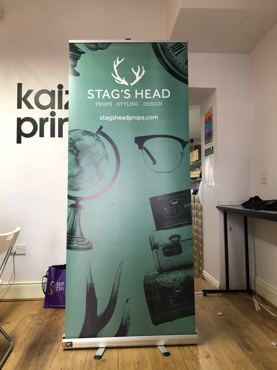 Stags Head Props Roll Up Banner - Roll Up Banner Printing - Belfast Printing - Kaizen Print