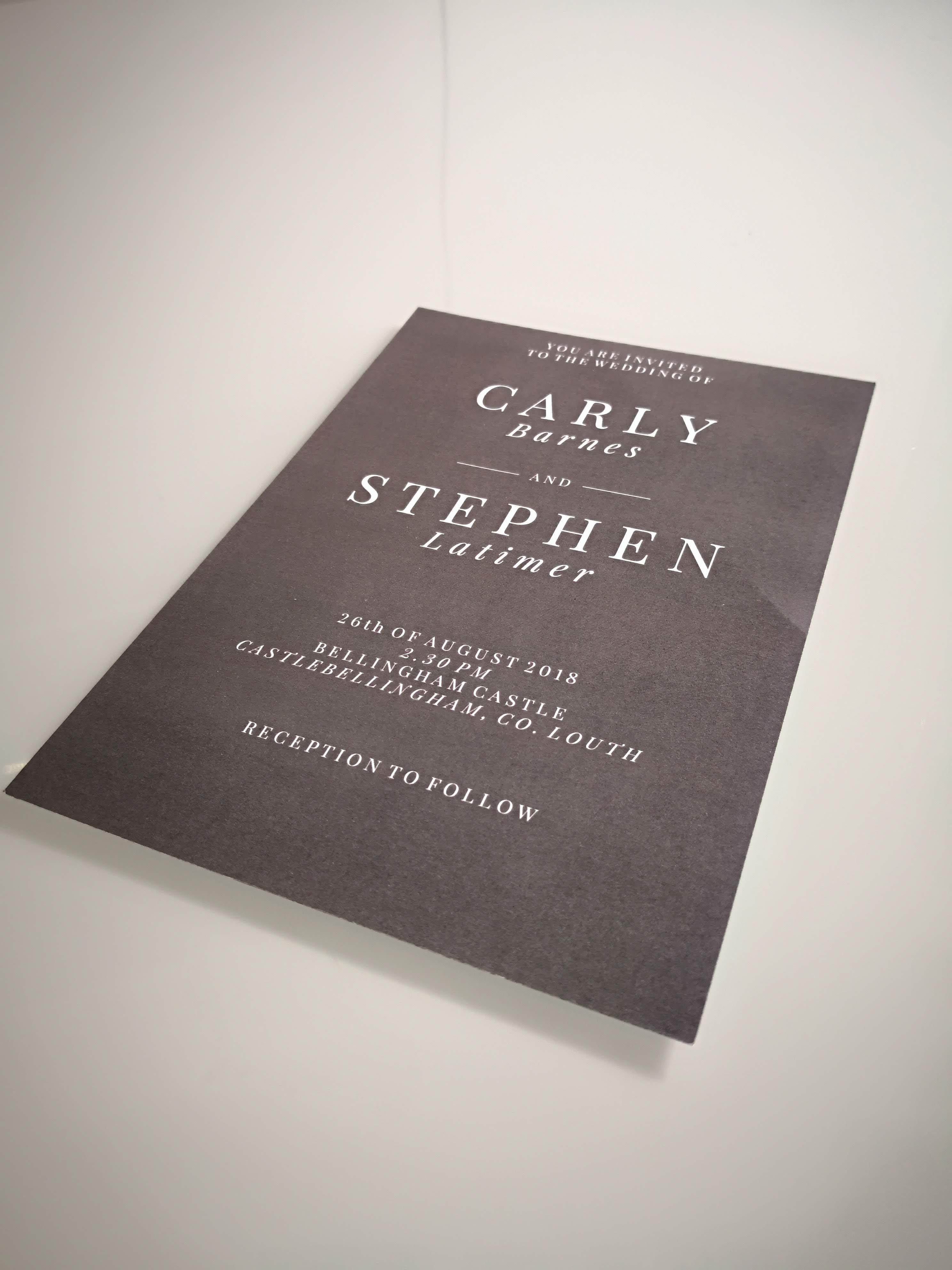 Carly and Stephen - Wedding Invite - Bespoke Wedding Stationery - Belfast Printing - Kaizen Weddings