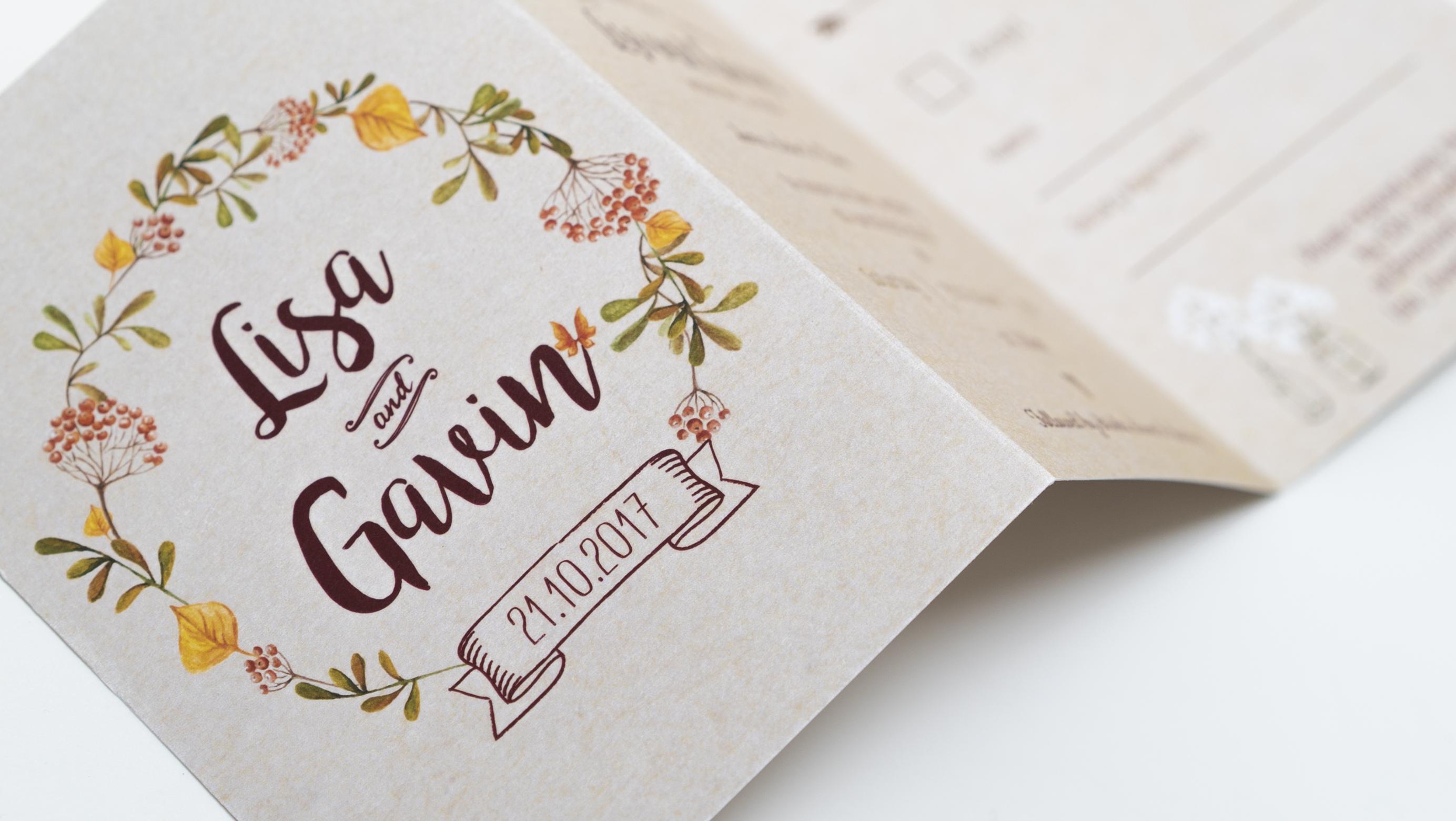 Kraft trifold wedding invite - gavin and lisa - RSVP