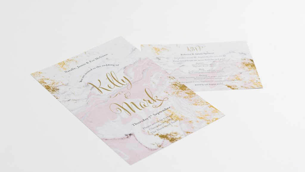 kelly and mark- wedding invites- rsvp- pink and gold- marble effect