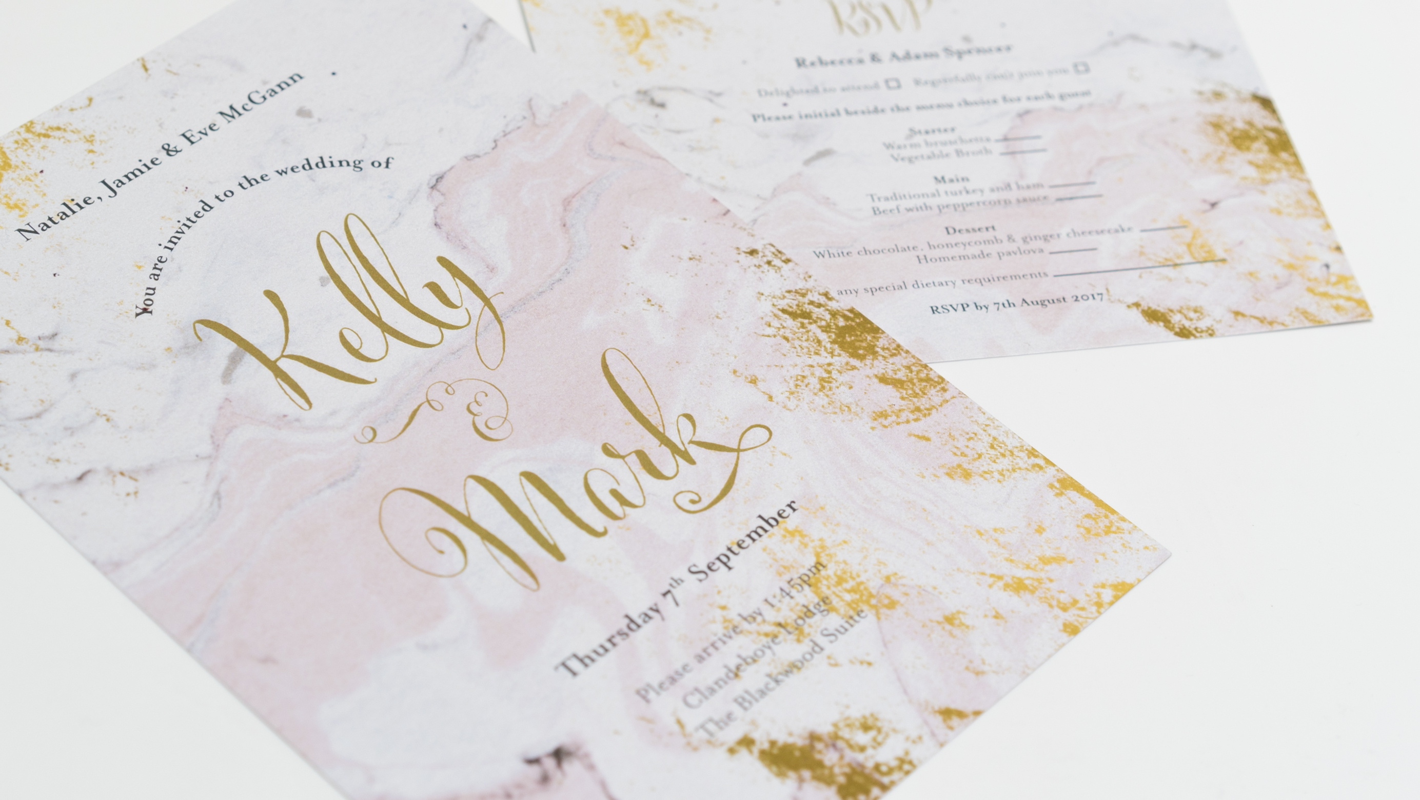 kelly mark- wedding invite- rsvp- marble- pink and gold- gold foiling