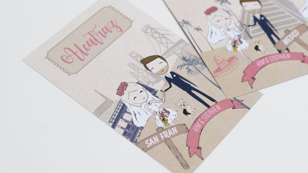 A6 wedding invite printed on kraft card with cartoon design