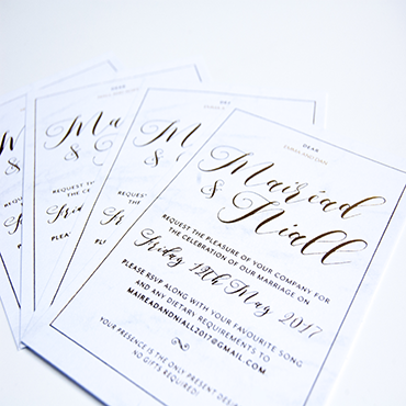Mairead and Niall Wedding Invite - Bespoke Wedding Stationery - Belfast Printing - Kaizen Weddings