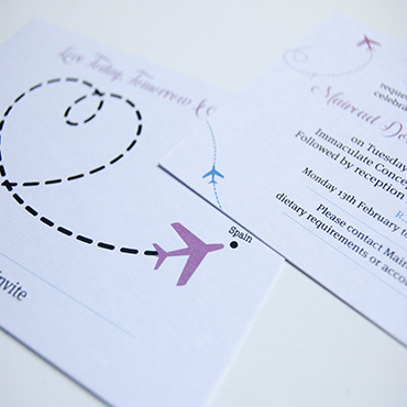 Travelling Wedding Invite - Bespoke Wedding Stationery - Belfast Printing - Kaizen Weddings