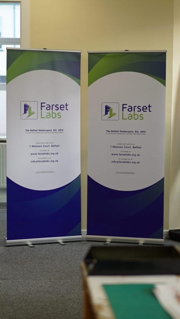 Farset Labs Roller Banners - Roller Banner Printing - Kaizen Print - Belfast Printing