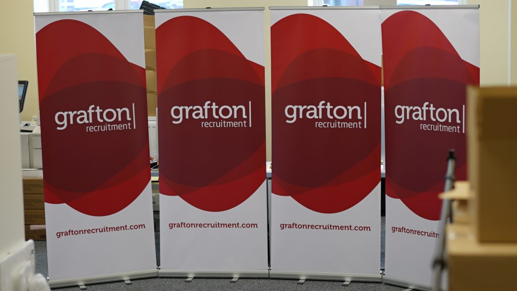 Grafton Recruitment Roll Up Banner - Roll Up Banner Printing - Kaizen Print - Belfast Printing
