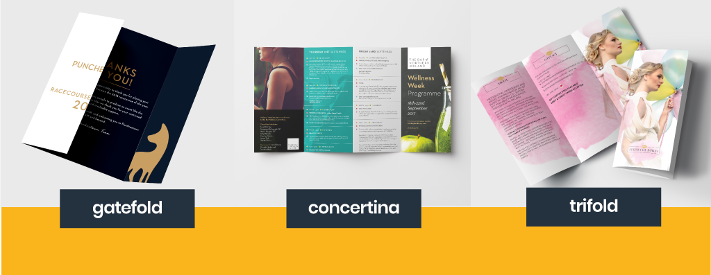folded flyer, paper stock, concertina, gate fold, trifold