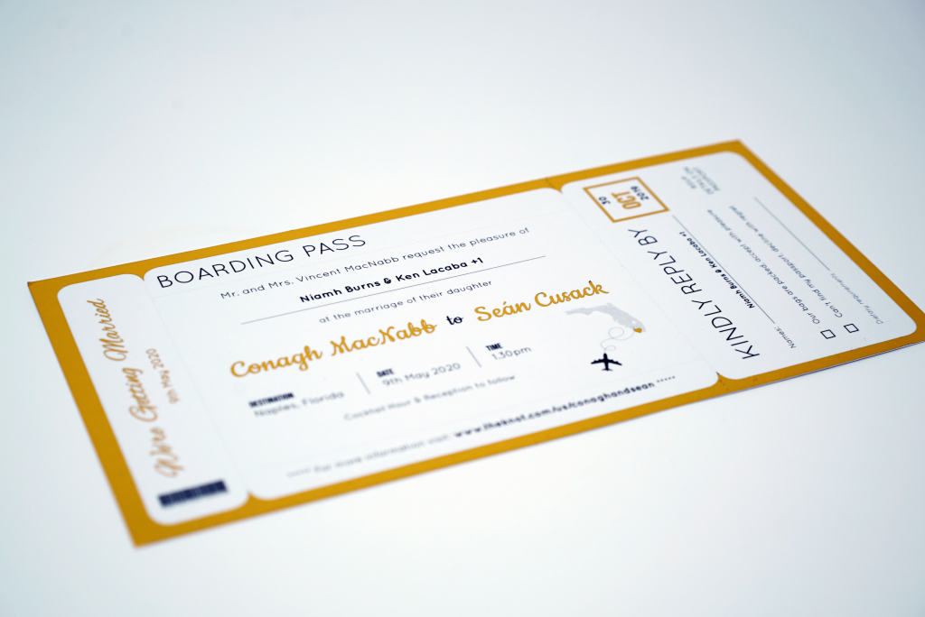 Foil Printing Wedding Invites - Boarding Pass Design