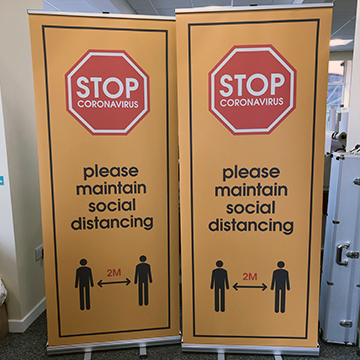 Social Distancing Roller Banners