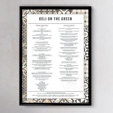 Deli on the Green Menu Design