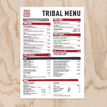 Tribal Burger Menu Design