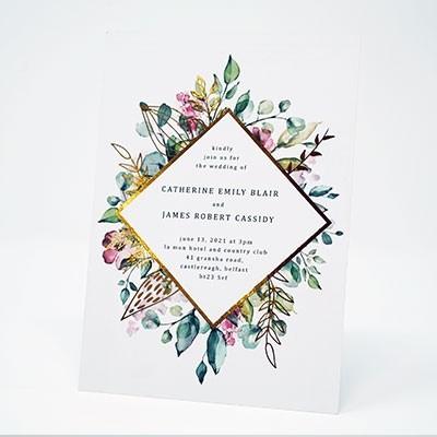Gold Foiling - Floral Design Wedding Invitation