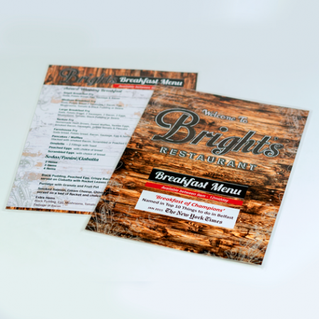Laminated Restaurant Menus