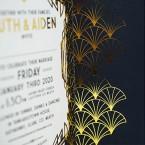 Gatsby Inspired Gold Foiled Wedding Invitation