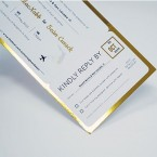 Foil Blocked - Gold - Board Pass Style Wedding Invitation