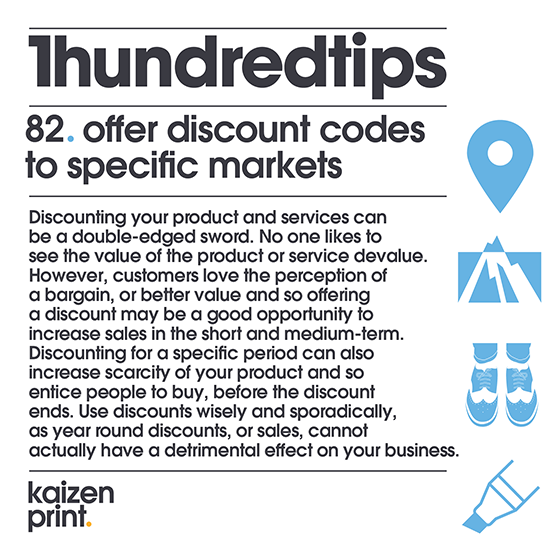 offer discount codes to specific markets