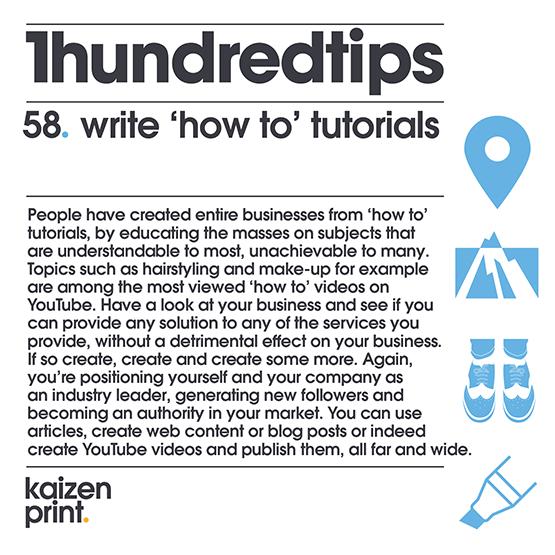 write 'how to' tutorials