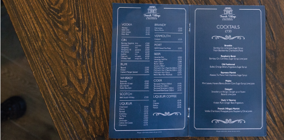 French village cocktail menu